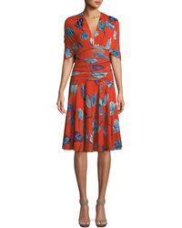 Diane von Furstenberg - Shirred Floral-print V-neck Dress - Lyst