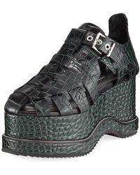 Proenza Schouler - Crocodile Pebbled Platform Sandal - Lyst