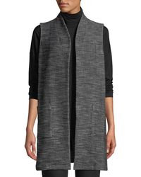 Eileen Fisher - Organic Cotton Tweed Knit Long Vest - Lyst