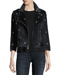 Rebecca Minkoff - Wes Faux-suede Moto Jacket W/ Star Studs - Lyst