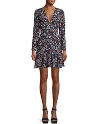 Ella Moss - Lon-sleeve V-neck Floral-print Dress - Lyst
