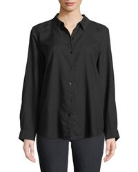 Eileen Fisher - Crosshatch Classic Button-front Shirt - Lyst