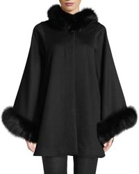 Sofia Cashmere - Oversized Fur-trimmed Hooded Cape - Lyst
