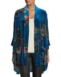 10ef943047b Lyst - Johnny Was Samira Long Floral-print Silk Kimono Jacket in Blue