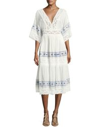 Queen & Pawn - Anatole Deep-v Cotton-silk Voile Midi Dress With Lace - Lyst