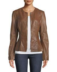 Neiman Marcus - Zip-front Leather Peplum Jacket - Lyst