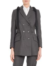 Simone Rocha - Double-breasted Shoulder-bows Belted Wool Straight Blazer - Lyst