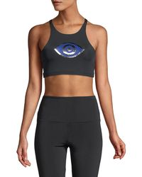Onzie - High-neck Elastic Foil Low-impact Sports Bra - Lyst
