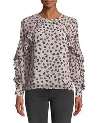 Cupcakes And Cashmere - Deen Leopard-print Top With Pleated Trim - Lyst