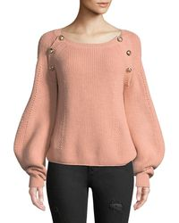 Ba&sh - Daia Round-neck Pouf-sleeve Knit Sweater With Button Trim - Lyst