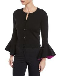 MILLY - Crewneck Button-front Draped-sleeve Cropped Knit Cardigan - Lyst