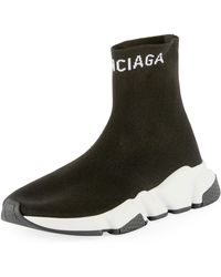 acbb5b903214 Lyst - Balenciaga Men s Speed Mid-top Trainer Sock Sneakers in Black ...
