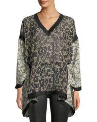Roberto Cavalli - Long-sleeve V-neck Retro Leopard-print Caftan Blouse W/ Self Belt - Lyst