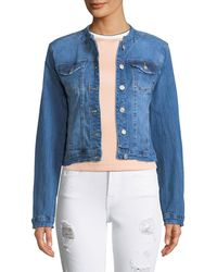 Etienne Marcel - Collarless Cropped Jean Jacket With Frayed Hem - Lyst