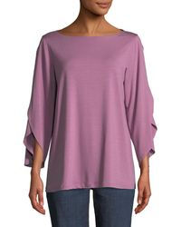 Eileen Fisher - Petite Lightweight Viscose Jersey Top - Lyst