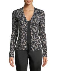 Roberto Cavalli - Button-front Long-sleeve Leopard-print Cashmere-silk Cardigan - Lyst