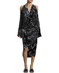 Urban Zen - Convertible Velvet Devore Cold-shoulder Dress - Lyst