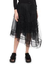 Simone Rocha - Asymmetric Hem Calf-length Tulle Skirt W/ Flower Detail - Lyst