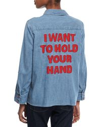 Alice + Olivia - Elosie Button-front Denim Shirt W/ Graphic Message - Lyst