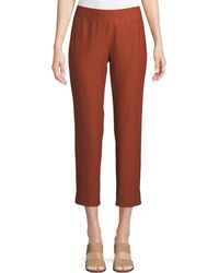 Eileen Fisher - Washable Stretch Crepe Cropped Pants - Lyst