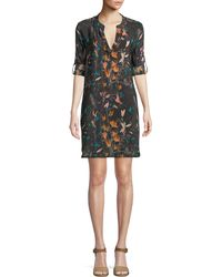 Tolani - Skyler Roll-sleeve Floral-print Silk Long Tunic Dress - Lyst