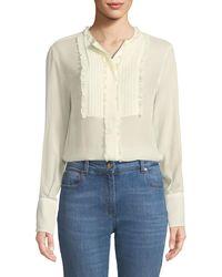Etro - Long-sleeve Silk Georgette Tunic W/ Ruffled Pleated Bib - Lyst