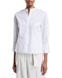 Nellie Partow - 3/4-sleeve Mandarin-collar Button-front Blouse - Lyst