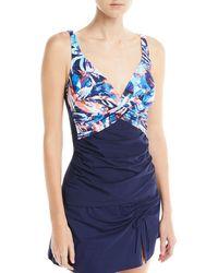 Gottex - Tahiti Shirred Printed Tankini Swim Top - Lyst