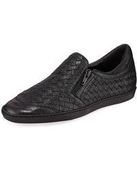 Sesto Meucci - Falcon Woven Metallic Leather Sneakers Black - Lyst
