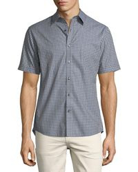 Michael Kors - Slim-fit Check Cotton Short-sleeve Shirt - Lyst