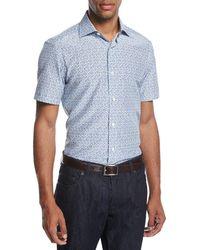 Ermenegildo Zegna - Pixel-print Cotton-silk Short-sleeve Shirt - Lyst