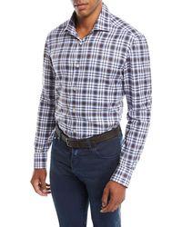 Kiton - Men's Large-check Cotton Shirt - Lyst