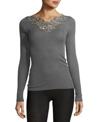 Zimmerli - Pure Opulence Lace-trim Wool-silk Top - Lyst