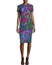 David Meister | Fractured Floral Short-sleeve Sheath Dress | Lyst