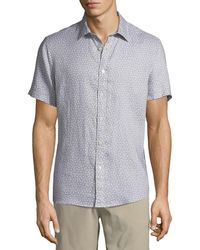 Michael Kors - Men's Short-sleeve Printed Linen Button-down Shirt - Lyst