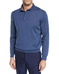 Ermenegildo Zegna - Men's Cashmere/silk Long-sleeve Polo Sweater - Lyst