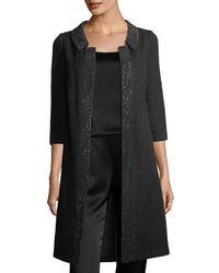 St. John - Allure Knit 3/4-sleeve Topper Coat - Lyst