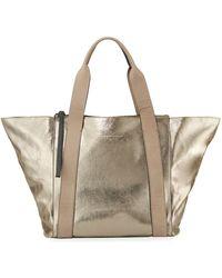 Brunello Cucinelli - Metallic Leather Zip-top Tote Bag - Lyst