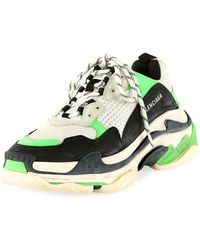 Balenciaga 'triple S' Stack Midsole Mesh Sneakers - Green