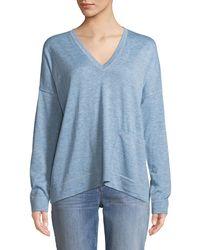 Eileen Fisher - Fine -alpaca Topstitch V-neck Pullover Sweater - Lyst