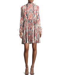 Valentino - Mock-neck Long-sleeve Crepe De Chine Lipstick-print Dress - Lyst
