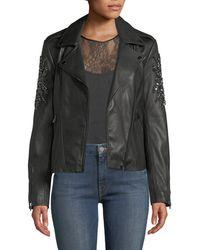 Neiman Marcus - Embellished-sleeve Leather Moto Jacket - Lyst