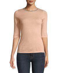 Neiman Marcus - Superfine Cashmere Chain-trim Half-sleeve Sweater - Lyst