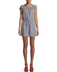 Tory Burch - Round-neck Sleeveless Gingham Coverup Romper - Lyst