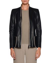 Giorgio Armani | Zip-front Fitted Leather Jacket W/ Whipstitch Trim | Lyst