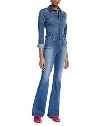 Hudson Jeans - Holly Rambler Long-sleeve Flare Denim Coverall Jumpsuit - Lyst