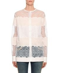 Ermanno Scervino - Long-sleeve Sheer Blouse With Lace Insets - Lyst