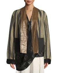 Urban Zen - Reversible Striped-linen Kimono Jacket With Leather And Suede Trim - Lyst