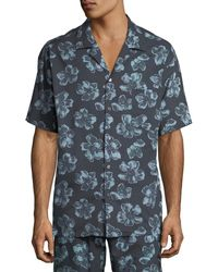 Desmond & Dempsey - Men's Floral Cuban Short-sleeve Shirt - Lyst