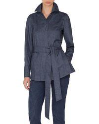 Akris - Self-belt Cashmere-cotton Flannel Tunic Blouse - Lyst